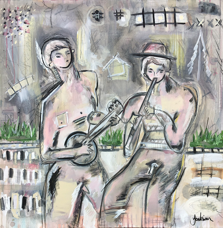 Two Musicians: Banjo and Flute Player