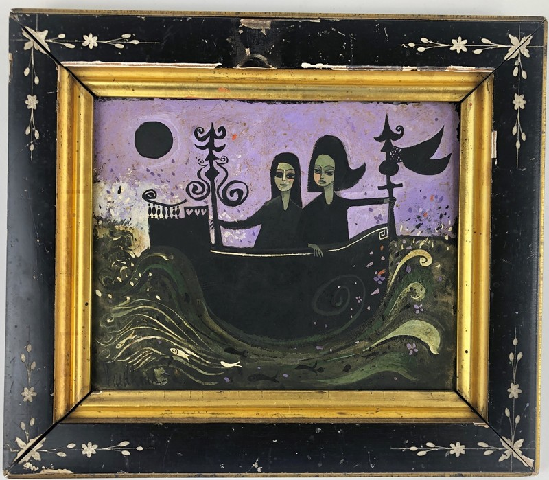 Two Women Sailing Under Moonlight