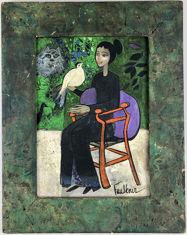 Woman, Cat, Bird and Chair