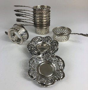 Group of Sterling Silver Coasters and Tea Strainers