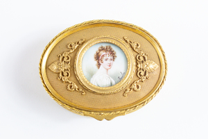 French 19th Century Gilt Bronze Box with Miniature, Signed Paulin