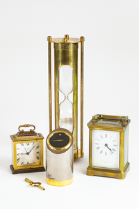 Collection of Three Antique Desk Clocks and One Hourglass