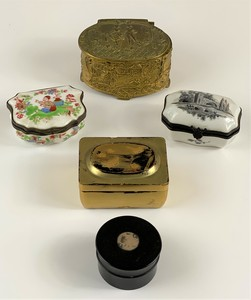 Collection of Porcelain, Lacquer and Silver Boxes