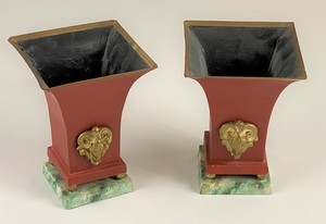 Pair of Painted Tin Potpourrie