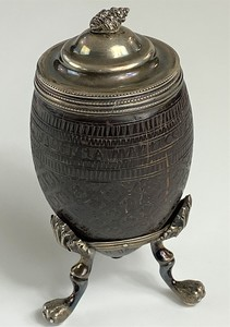 18th Century Engraved Coconut Shell Vessel